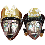 SOLD Mother of Pearl Shell Masks of King Rama and Queen Sita