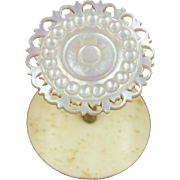 Mother of Pearl Shell Topped Sewing Reel Holder or Thread Spool, England c1840 (ref3)