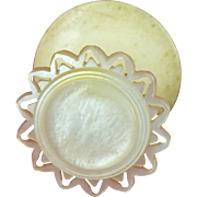 Mother of Pearl Shell Topped Sewing Reel Holder or Thread Spool, England c1840 (ref6)