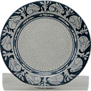 "Dedham Pottery 8.5"" Rabbits Plate By Maude Davenport in Blue and White Crackled Glaze ..."
