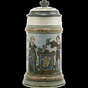 """Mettlach 7.75"""" Stein """"Lovers"""" 1/2 Liter #1725 Dated 1897 By Christian Warth Min"""
