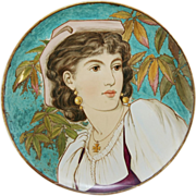"""Minton 16.5"""" Charger with Portrait Of A Maiden Dated 1889 John Mortlock Co., London ..."""