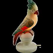 "Fulper Porcelain 12.5"" Cockatoo Perfume Lamp #311 In Green/Scarlet/Yellow Glazes"