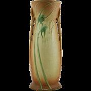 "Roseville Futura 15.5"" 'Tall Teasel' Vase In Cinnamon/Amber/Yellow Glazes"