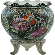 "Nippon Moriage 5"" x 5"" Footed Rose Bowl Gorgeous Blossoms Ornate Moriage Accents MIN"