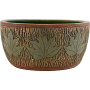 "Roseville Sylvan 3.5"" x 7"" High-Sided Center Bowl With Rustic Woodsy Maple Leaves"
