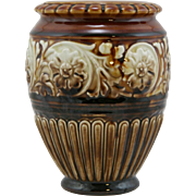 """Weller Unusually Glazed 6.25"""" Roma Vase With Rose Blossoms/Leaves In Sepia Tones Mint"""