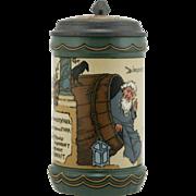 """Mettlach 6.5"""" Etched Stein Dated 1907 """"Diogenes"""" By Heinrich Schlitt 1/2 Liter"""