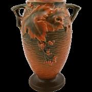 "Roseville Bushberry 9.5"" Vase #35-9 In Rich Orange Russet Glazes Orange Berries"