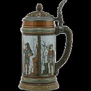 "Mettlach 8.75"" Etched Stein 1890s ""Hunters"" In Ornate Panels 1/2 Liter #1695 Mi"
