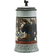 "Mettlach 7.5"" Stein Dated 1904 ""Soldiers In The Forest"" By 'MC' 1/2 Liter ."