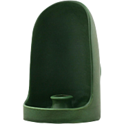 "Hampshire 6.5"" Arts & Crafts Style Hooded Chamberstick In Rich Matte Green Glaze"