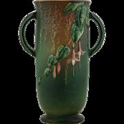 "Roseville Fuchsia 9.25"" Vase In Rich Green Glaze Fabulous Mold & Color 900-9"