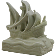 """Rookwood 3.75"""" x 3.75"""" Ship Paperweight in Ivory Glaze 1926 William McDonald Design"""