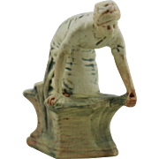 "Weller Muskota 6.25"" x 5"" Kneeling Woman 'Washer Woman' Ornamental Flower Frog for V"