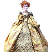SOLD Rare! Antique hand=painted Plaster Doll of Queen Elizabeth I