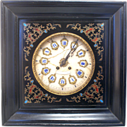 SOLD Beautiful 19th Century French Oeil De Boeuf wall clock with marble fascia and inlaid surr