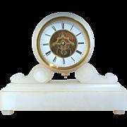 SOLD Antique circa 1870 Farcot of Paris French Alabaster mantle skeleton clock