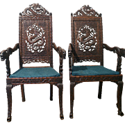 Fantastic pair of antique Chinese style Kashmiri hand-carved Rosewood Throne chairs