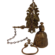 SOLD Cast Wall Mounted Brass Bell with Pull Chain