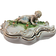 Porcelain Vanity Box With Cherub