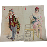Pair Long Cut Tobacco Cards 1890