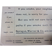 Sprague, Warner& Co Cigar Importers