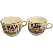SOLD Humorous His & Hers China Coffee Cups 1950s