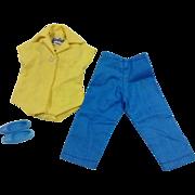 Casual Barbie Label Yellow Blouse & Blue Slacks With Blue Flats