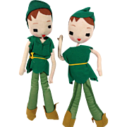 Unusual 1950s Peter Pan: Cloth Over Wire Dolls