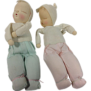 Unusual 1957 Japanese Sleeping Cloth Baby Dolls