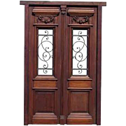 Fully Restored Double Front Door w/ Wrought Iron Inserts