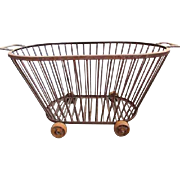Antique Wrought Iron Bakery Basket with Wheels