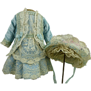 Wonderful French blue velvet and lace antique dolls couturier dress with matching bonnet for a