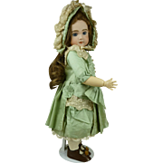 Exquisite aqua silk French dolls couturier dress with matching bonnet