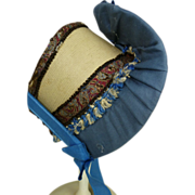Gorgeous fine straw hat with blue ribbons and exquisite bands