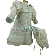 Wonderful white French batiste antique dolls dress with rows of lace and matching bonnet