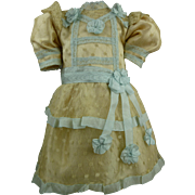 Marvelous French silk and dotted gauze dress for your Jumeau, Bru, Steiner, Gaultier or other