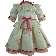 Sweet French flowered antique dolls dress with beautiful pink details