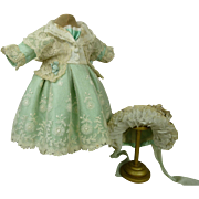 French turquoise silk and lace antique dolls dress with matching bonnet