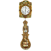BEAUTIFUL 19th Century French C. Delaunay Porchoir Wag-On Calendar Clock w/ Winding Handles, .