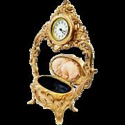 SOLD Beautiful Antique Gold Ornate Vanity Clock/Jewelry Box Combo-Working Great-Beautiful Disp