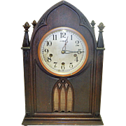 Beautiful Antique New Haven Gothic Style Steeple/Cathedral Clock-Excellent Working Condition .