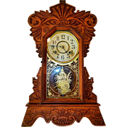 5) Gorgeous Antique New Haven Carved Oak Kitchen Clock-Excellent, Fully Working Condition with