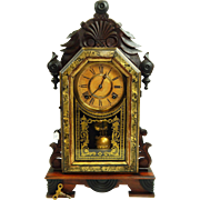 176) Beautiful All Original Antique Ingraham Kitchen Clock with Key and Pendulum-Excellent, ..