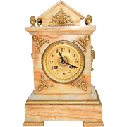 202) Lovely Antique A. Stowell & Co. Neutral Marble and Gold Ornate Gilded Mantel Clock-Circa