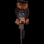 Vintage Moving Eye Owl Clock Carved Case and Pendulum Animated Eyes