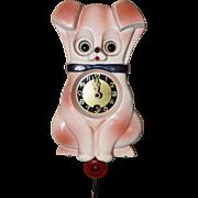 SOLD Vintage Pink Dog Moving Eye Wooden Pendulette
