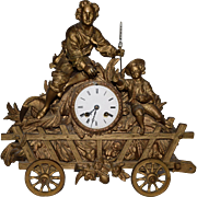 SOLD Antique French Wagon Cart Bronze Figural Clock. This is a very rare cased clock. It is al