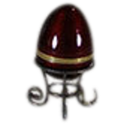 REDUCED Sterling and Red Enameled Egg with Gilt Stand